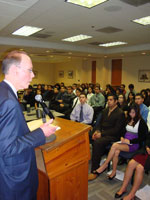 James R. Callahan, president & CEO, Nautilus spoke to ITEPs high school students. Callahan has been known to follow or walk job applicants out to their car in the parking lot, and if he sees a messy car inside you like will not get hired, he said. Nautilus is a big partner of ITEP.