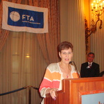 Founder & CEO Carol Rowen, ITEP accepts the Stanley T. Olafson Bronze Plaque award for her outstanding contributions to trade mentorships, worksforce education and teachering at the FTA Luncheon in downtown LA. Photo by George Mc Quade, MAYO Communications, LA.