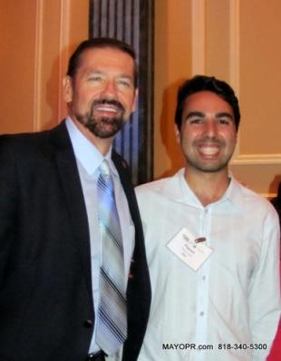 two shot of George McQuade, MAYOCommunications.com and Payam Rodd, USC AT Taglyan Center, Hollywood.